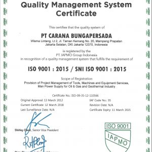 Sertifikat ISO 9001-2015 PT Carana Bungapersada-min