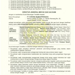SKT MIGAS No. 853 JASA PENYEDIAAN ALAT MATERIAL & JASA EXPIRED TGL 17 JULI 2023