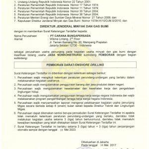 SKT No. 613 PEMBORAN DARAT-ONSHORE DRILLING EXPIRED TGL 12 MEI 2023