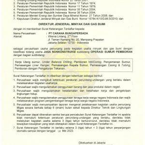 SKT No. 614 PEMBORAN SUMUR, LINER HANGER EXPIRED TGL 12 MEI 2023